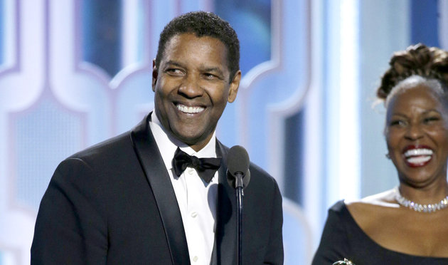 BEVERLY HILLS, CA - JANUARY 10: In this handout photo provided by NBCUniversal,  Denzel Washington accepts with Cecil B. Demille Award during the 73rd Annual Golden Globe Awards at The Beverly Hilton Hotel on January 10, 2016 in Beverly Hills, California.  (Photo by Paul Drinkwater/NBCUniversal via Getty Images)