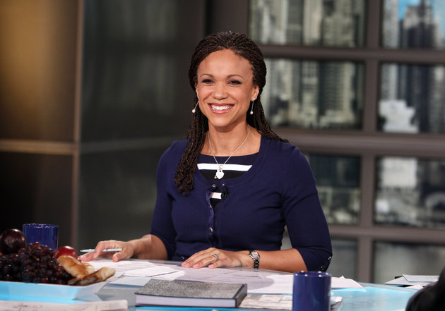 FILE - In this Feb. 18, 2012, file photo, provided by MSNBC, Melissa Harris-Perry appears on the set of her self-titled show in New York. The National Association of Black Journalists expressed concerns about MSNBC's diversity record in the wake of the noisy exit of weekend host Harris-Perry. The network said Thursday, March 3, 2016, that it is proud of its diversity effort and noted that people of all ethnicities have seen their roles reduced or eliminated as part of a transition to more breaking news coverage. (Heidi Gutman/MSNBC via AP, File)