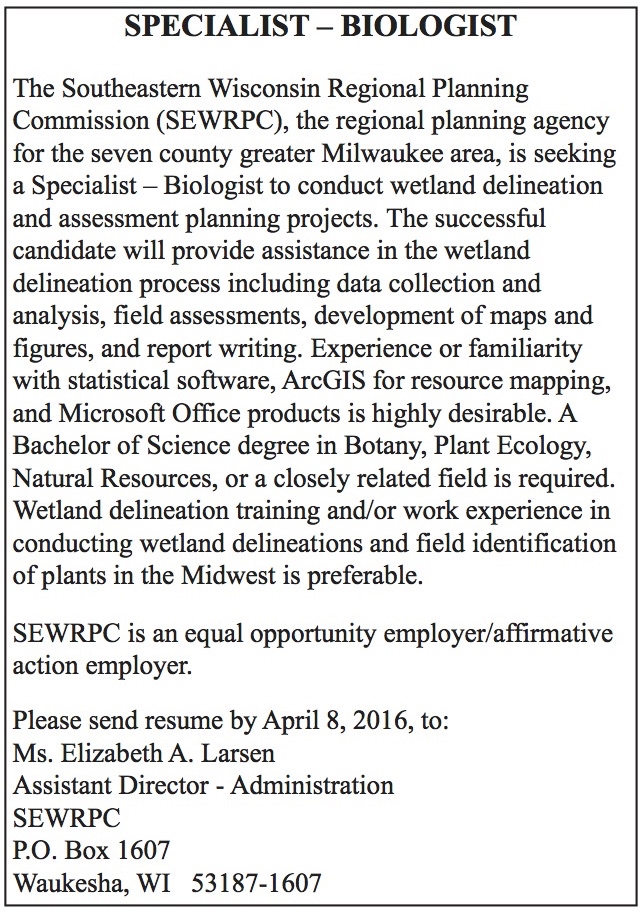 Specialist-Biologist—SEWRPC ad