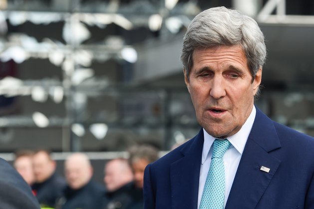 "US Secretary of State John Kerry attends a ceremony at the Brussels National Airport to pay tribute to the victims of the terrorist attacks on March 25, 2016 in Zaventem. Kerry declared ""Je suis Bruxellois"" -- ""I am a citizen of Brussels"" -- in support for the people of the Belgian capital, echoing their backing for the United States after the 9/11 terror attacks. Triple bomb attacks in Brussels on March 22, 2016, left 31 people dead and 300 injured. / AFP / BELGA AND AFP / FREDERIC SIERAKOWSKI / Belgium OUT (Photo credit should read FREDERIC SIERAKOWSKI/AFP/Getty Images)"