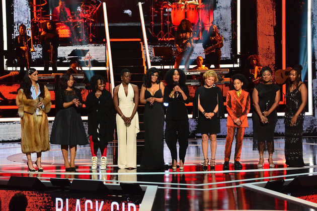NEWARK, NEW JERSEY - APRIL 01:  (L-R) Celebrants Rihanna, Shonda Rhimes, Gladys Knight, Danai Gurira, Beverly Bond, Tracee Ellis Ross, Debra Lee, Amanda Steinberg, Alicia Garza and Opall Tometi take the stage at the end of the Black Girls Rock! 2016 show at New Jersey Performing Arts Center on April 1, 2016 in Newark, New Jersey.  (Photo by Brian Killian/Getty Images)
