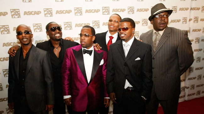 New Edition members Ralph Tresvant, Johnny Gill, Michael Bivens, Ronnie DeVoe, Ricky Bell and Bobby Brown arrive at the 21st Annual Rhythm & Soul Music Awards at the Beverly Hilton Hotel on June 23, 2008 in Beverly Hills, California. (Photo by Michael Buckner/Getty Images)