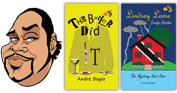 Caricature of author Andre Boyce, and his two book covers