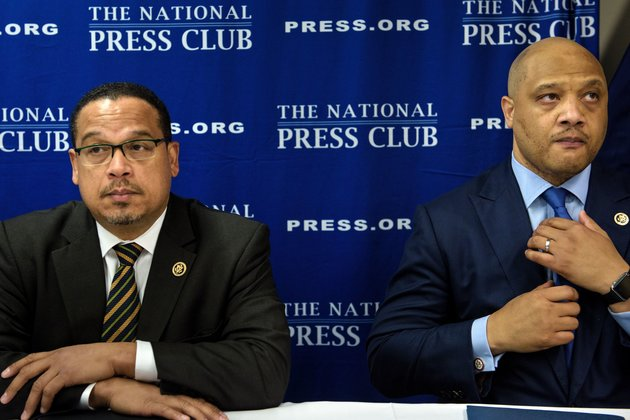 Rep. Keith Ellison(L) D-MN and Rep. Andre Carson (D-IN) wait to speak during a press conference about Islamophobia at the National Press Club May 24, 2016 in Washington, DC. / AFP / Brendan Smialowski        (Photo credit should read BRENDAN SMIALOWSKI/AFP/Getty Images)