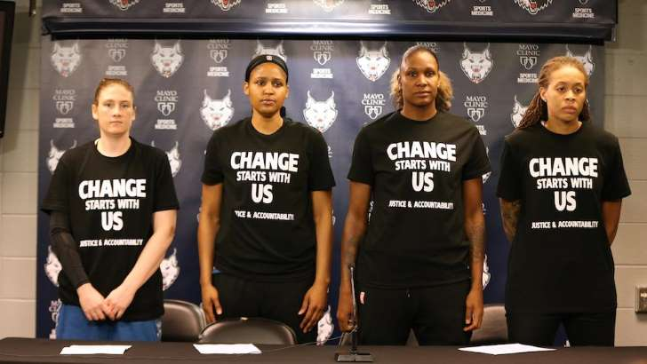 Sports Illustrated minnesota lynx officers walk out black lives matter