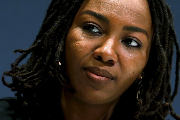 Opal Tometi, the co-founder of the #BlackLivesMatter movement, takes part in an onstage interview at the Washington Ideas Forum in Washington, September 30, 2015. REUTERS/Jonathan Ernst