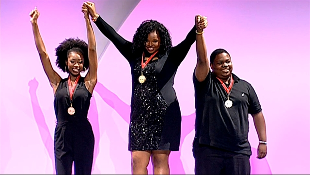 "Kaprice Maxwell (center) won the gold medal at the ""Olympics of the Mind"" last weekend."