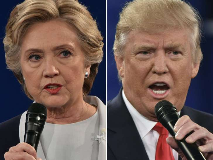 PAUL J. RICHARDS/AFP/Getty Images This file combination of pictures created on October 9, 2016 shows Democratic presidential nominee Hillary Clinton and Republican presidential nominee Donald Trump during the second presidential…