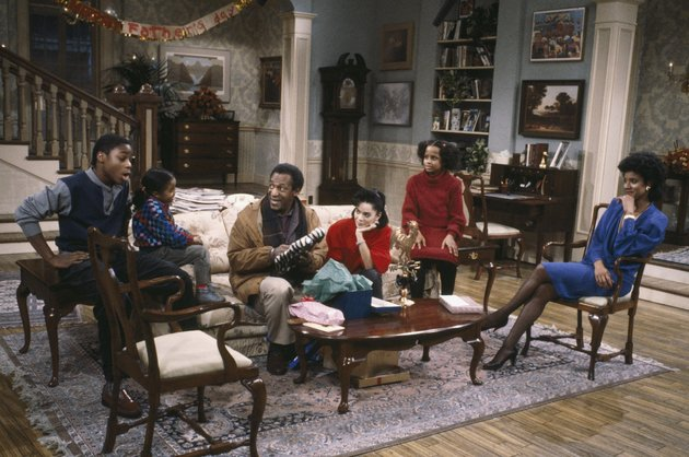 THE COSBY SHOW -- Pictured: (l-r) Malcolm-Jamal Warner as Theodore 'Theo' Huxtable, Keshia Knight Pulliam as Rudy Huxtable, Bill Cosby as Dr. Heathcliff 'Cliff' Huxtable, Lisa Bonet as Denise Huxtable Kendall, Tempestt Bledsoe as Vanessa Huxtable, Phylicia Rashad as Clair Hanks Huxtable -- Photo by: NBCU Photo Bank
