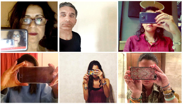 "COMBO - This undated handout combo image made of eight photos provided by the subjects, shows Egyptian activists posing for 'selfies' part of an online campaign demanding the release from detention of members of a satirical street group whose selfie-style video clips mocked the country's president. Activists on Thursday posted phone-wielding selfies entitled ""does a mobile phone camera scare you?"" and directed at President Abdel-Fattah el-Sissi. Police this week arrested four members of the group Awlad el-Shawarea, or ""Street children."" A fifth member was arrested over the weekend but was later released on bail. They are facing a host of charges including inciting terror attacks and street protests as well as insulting state institutions. (UGC via AP)"