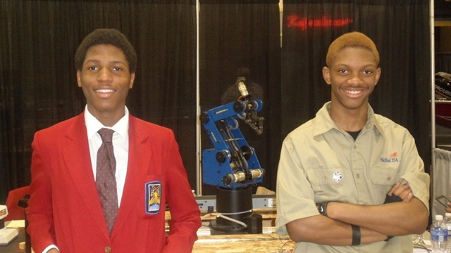 Adrian Ellis (L) and Maurice Pulley (R) earned first place honors in the Robotics and Automation Technology competition at the Wisconsin SkillsUSA contest in April.