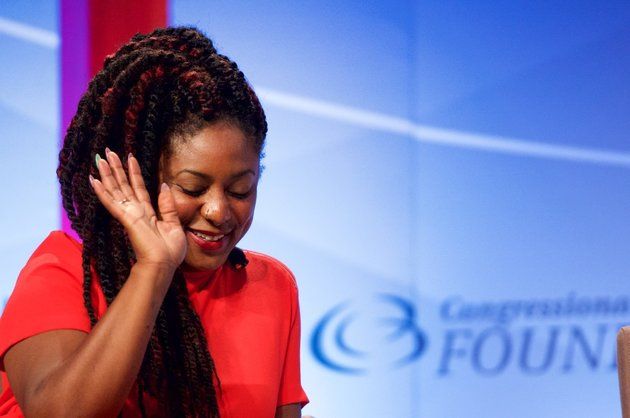 WASHINGTON, DC - SEPTEMBER 17:  Co-Founder of Black Lives Matter Alicia Garza serves as a panelist for the National Town Hall: 'Black Lives Matter' discussion at Walter E. Washington Convention Center on September 17, 2015 in Washington, DC.  (Photo by Earl Gibson III/Getty Images)