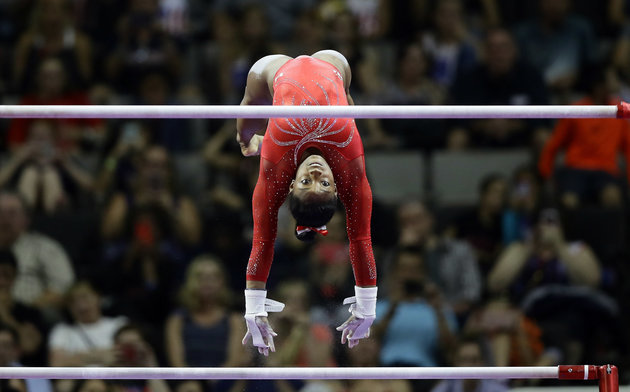 SAN JOSE, CA - JULY 10:  Simone Biles competes on the uneven bars during Day 2 of the 2016 U.S. Women's Gymnastics Olympic Trials at SAP Center on July 10, 2016 in San Jose, California.  (Photo by Ezra Shaw/Getty Images)