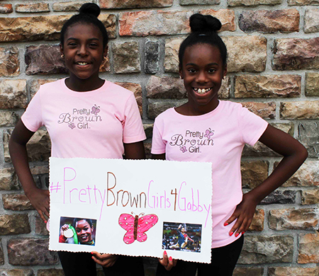 10 and 11-year old sisters, Laila and Aliya Crawley, share heartfelt message for Gabby Douglas to stay strong despite hurtful social media commentary about her hair.