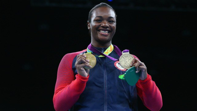 Gold medalist Claressa Maria Shields of the United States poses on the podium during the medal ceremony for the Women's Boxing Middle (69-75kg) on Day 16 of the Rio 2016 Olympic Games at Riocentro - Pavilion 6 on August 21, 2016 in Rio de Janeiro, Brazil. (Photo by Alex Livesey/Getty Images)