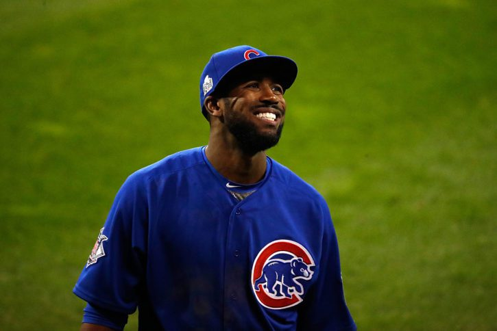CLEVELAND, OH - NOVEMBER 02:  Dexter Fowler #24 of the Chicago Cubs reacts during the seventh inning against the Cleveland Indians in Game Seven of the 2016 World Series at Progressive Field on November 2, 2016 in Cleveland, Ohio.  (Photo by Gregory Shamus/Getty Images)